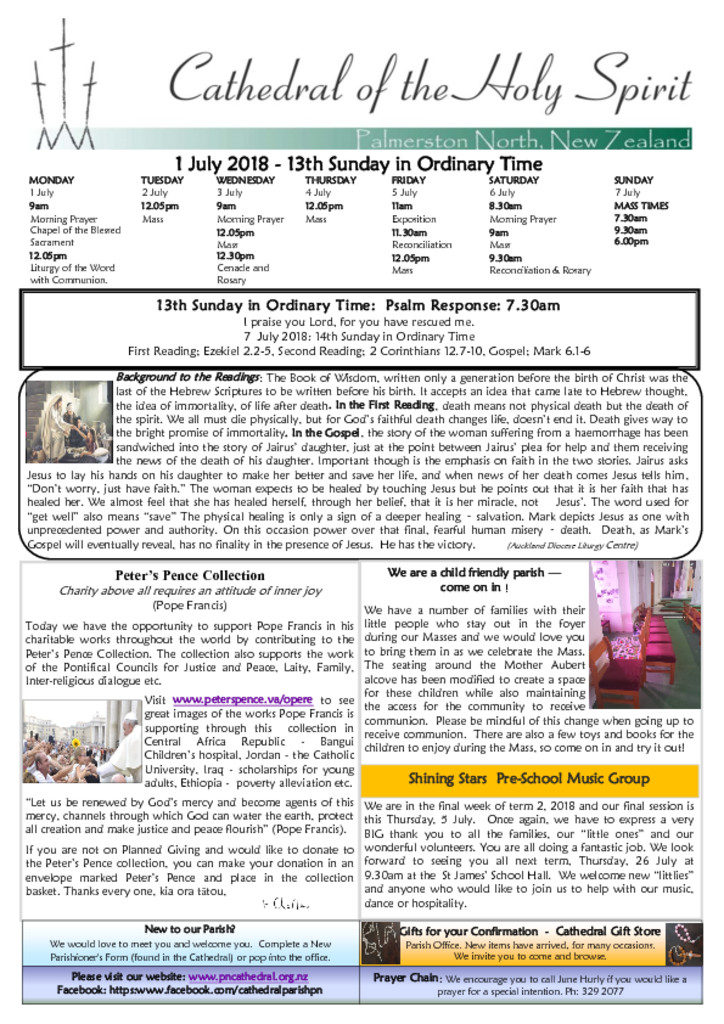 Newsletters - Cathedral of the Holy Spirit, Palmerston North